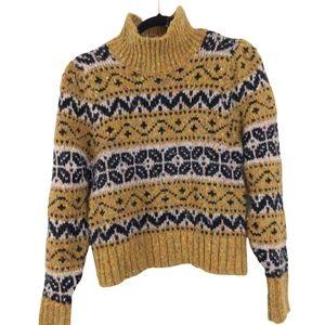 Zara Chunky Beaded Knit Wool Fair Isle Turtleneck Pullover Sweater sz Large